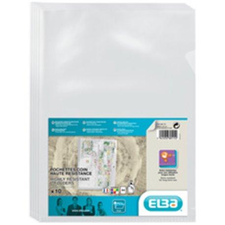 ELBA Pochettes-coin haute résistance, A4, en PVC, incolore- lot de 10